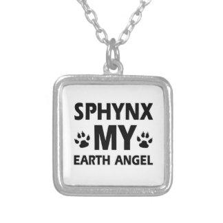 SPHYNX CAT DESIGN SQUARE PENDANT NECKLACE