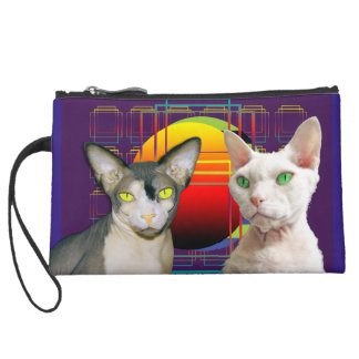 Sphynx Cat Devon Rex Cat Retro Purple Suede Wristlet