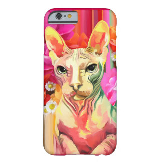 Sphynx Cat in flowers. Barely There iPhone 6 Case