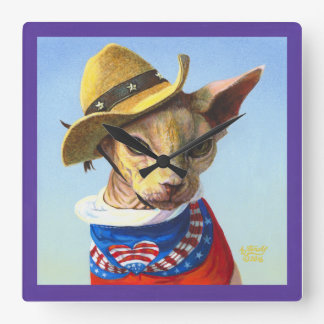 Sphynx Cat Independence Day Clock
