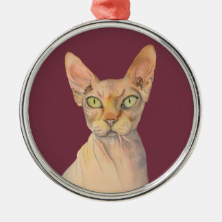 Sphynx Cat Watercolor Portrait Silver-Colored Round Decoration