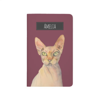 Sphynx Cat Watercolor Portrait with Name Journal