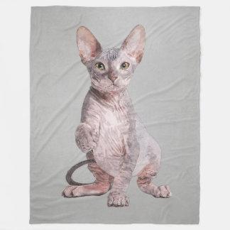 Sphynx Kitten Pet Portrait Fleece Blanket