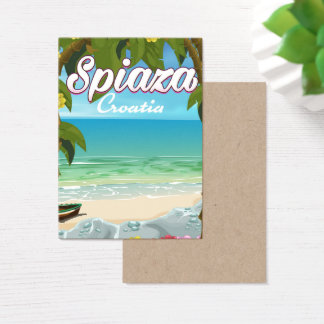 Spiaza Croatia beach vacation poster Business Card