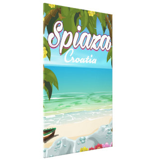 Spiaza Croatia beach vacation poster Canvas Print