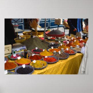 Spices, Market Day, Aix-en-Provence, France Poster