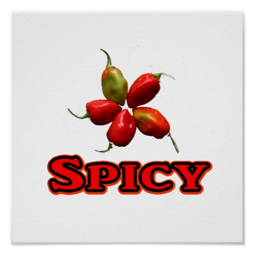 Spicy Five Habanero Hot Pepper Design Poster