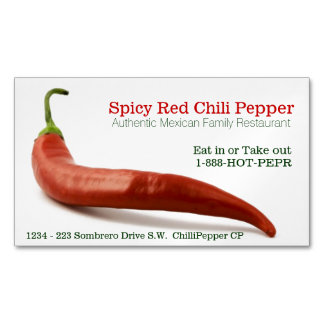 Spicy Food Hot Red Cayenne Pepper Restaurant Magnetic Business Cards