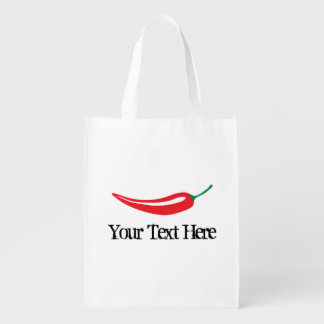 Spicy hot red chili pepper grocery shopping bag