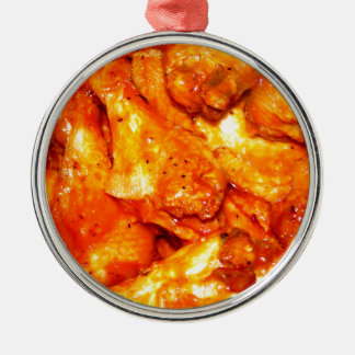 Spicy Hot Wings Silver-Colored Round Decoration