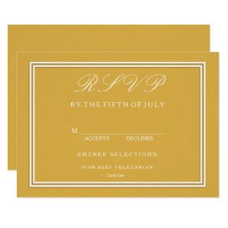 Spicy Mustard with White Wedding Detail 11 Cm X 16 Cm Invitation Card