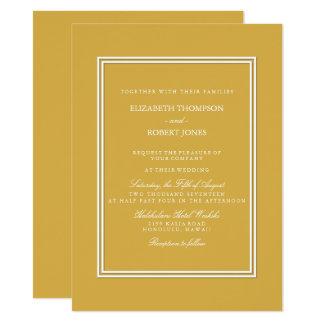 Spicy Mustard with White Wedding Detail 14 Cm X 19 Cm Invitation Card