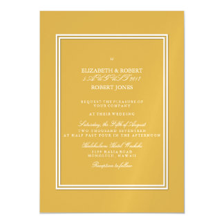 Spicy Mustard with White Wedding Detail Magnetic Invitations