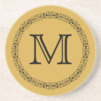 Spicy Mustard Yellow Gold Solid Color Monogram Coaster