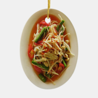 Spicy Papaya Salad [Som Tam] ... Thai Lao Food Christmas Ornament