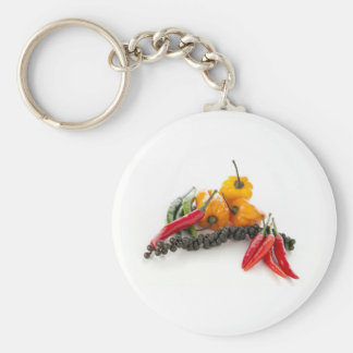Spicy Peppers on White Keychain