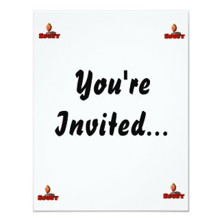 Spicy Single Flame Habanero Hot Pepper Design 4.25x5.5 Paper Invitation Card