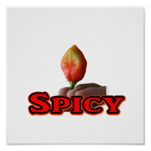 Spicy Single Flame Habanero Hot Pepper Design Poster