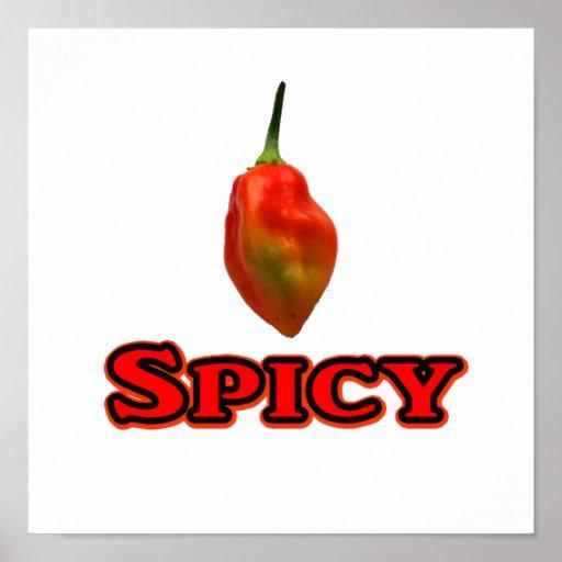 Spicy Single Habanero Hot Pepper Design Poster
