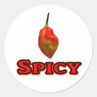 Spicy Single Habanero Hot Pepper Design Round Sticker