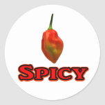 Spicy Single Habanero Hot Pepper Design Round Stickers