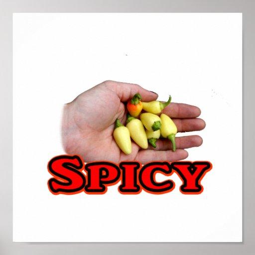 Spicy White Habanero Hot Pepper Design Poster
