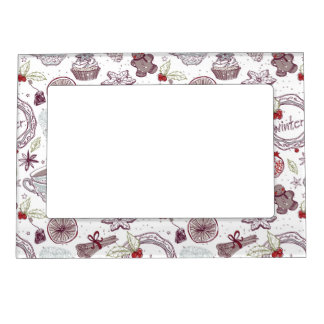 Spicy Winter Theme Pattern Magnetic Frame