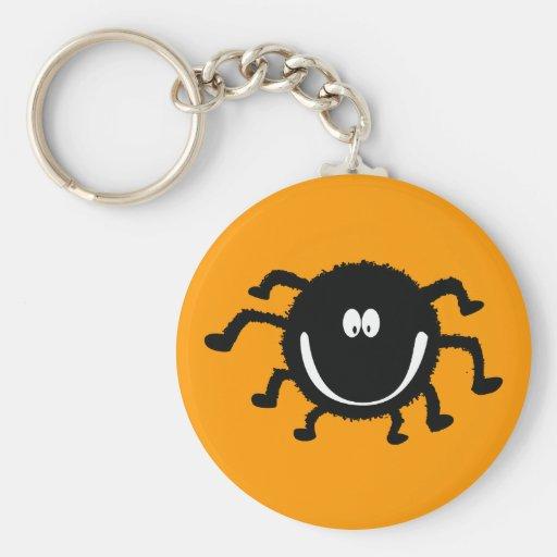 spider001_92007 HAPPY LITTLE BLACK ORANGE SPIDER C Keychains