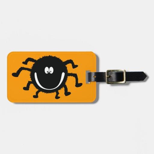 spider001_92007 HAPPY LITTLE BLACK ORANGE SPIDER C Luggage Tag