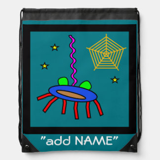 Spider abstract art for kids drawstring bag