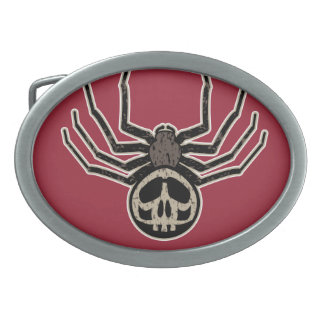Spider and Skull Tattoo Oval Belt Buckle