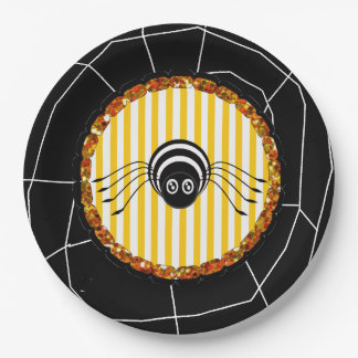 Spider and Spider Web Halloween Party Paper Plates