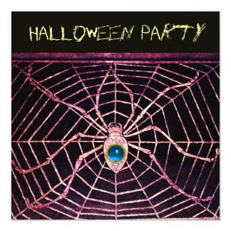 """SPIDER AND WEB BLUE SAPPHIRE BLACK HALLOWEEN PARTY 5.25"""" SQUARE INVITATION CARD"""