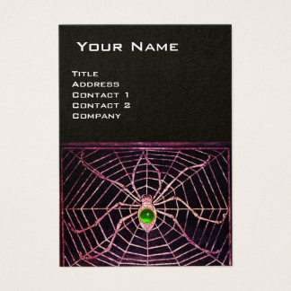 SPIDER AND WEB Green Emerald Black Pearl Paper Business Card