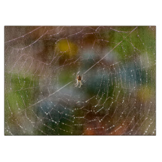 Spider and web photograph chopping board