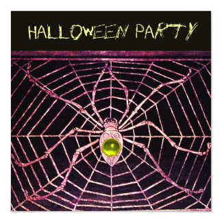 SPIDER AND WEB  YELLOW TOPAZ BLACK HALLOWEEN PARTY 13 CM X 13 CM SQUARE INVITATION CARD