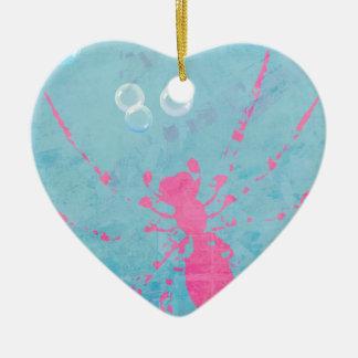 Spider Bubbles Ceramic Heart Decoration