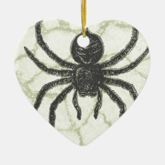 spider ceramic heart decoration