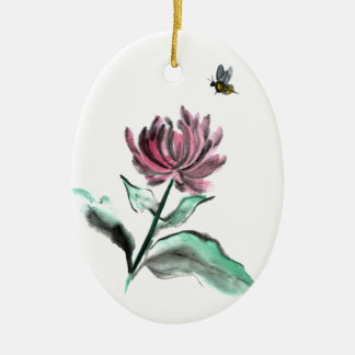 Spider Chrysanthemum and Bee - Fall in the Garden Ceramic Oval Decoration