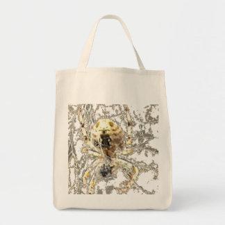 Spider Closeup Mystic Web Grocery Tote Bag