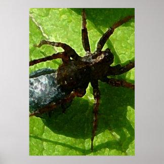 Spider Crawling on Leaf Print