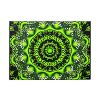 Spider Dance, Abstract Green Gray Web Covers For iPad Mini