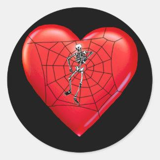 Spider Heart Round Stickers