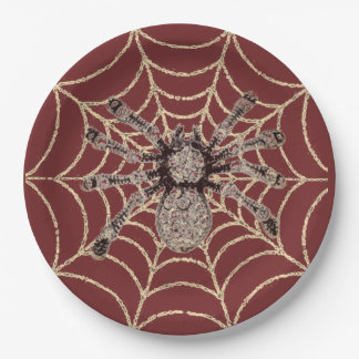 Spider In Web Paper Plate