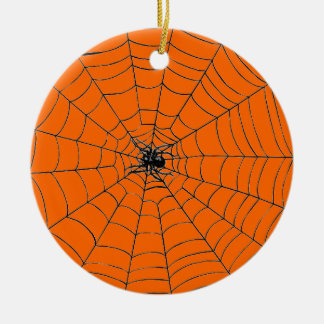 Spider in Web Round Ceramic Decoration