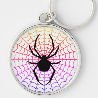 Spider in Web Round Premium Keychain