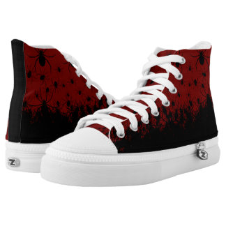 Spider infested creepy goth blood red high tops