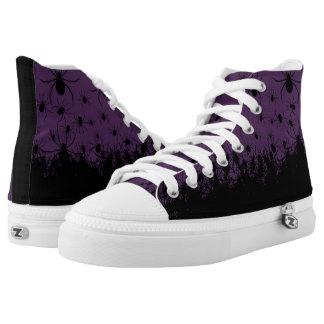 Spider infested creepy goth dark purple high tops