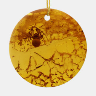 Spider inside amber christmas ornament