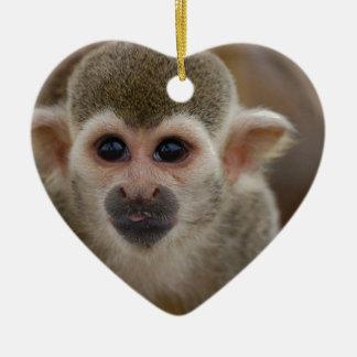 Spider Monkey Ceramic Heart Decoration